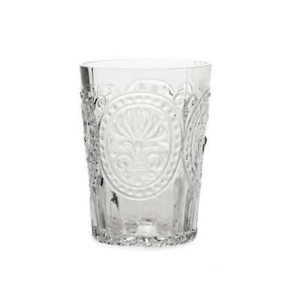 Fleur de Lys Grey Glass tumbler - set of 4 (available to order)