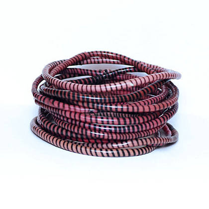 Jokko Bracelets from Mali Africa - set of 6 Dark Red / Pink