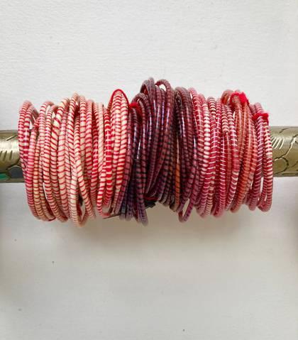 Jokko Bracelets from Mali Africa - set of 6 Reds
