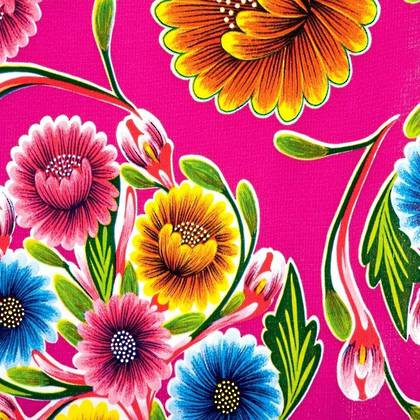 Kitsch Kitchen Oilcloth - Floralpola Fuchsia (out of stock)