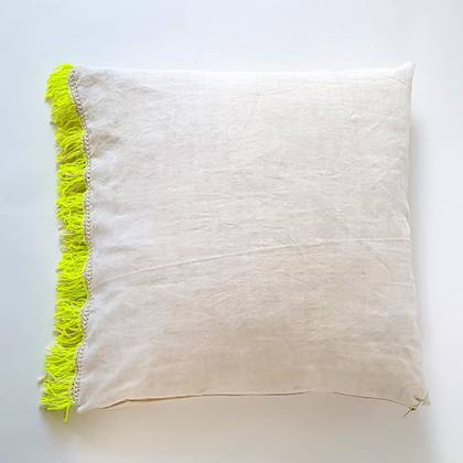 Livette Vintage Linen Fluro Fringe 60cm Cushion (sold out)