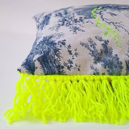 Livette Toile de Jouy Fluro Fringe 60cm Cushion