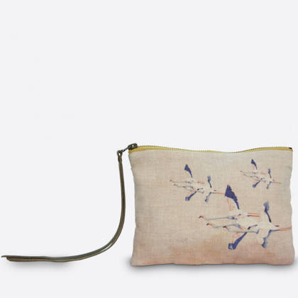 Maison Levy Linen Zip Purse - Flamingo Rose (sold out)