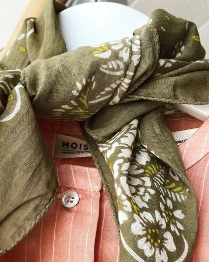 Moismont Scarf - design n°519 100% Cotton - Kaki (1 left)