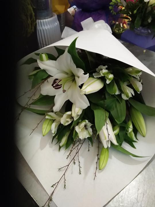 Simply White Lillies and White Alstrameria