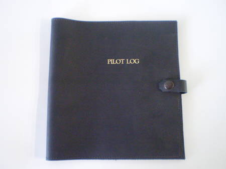 Leather Log Book Cover - Black  For current NZ CAA 1373 Pilot Log Book