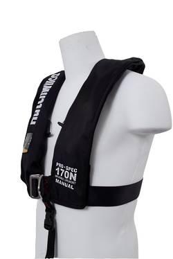 HW Pro-Spec 170N Manual Deck Lifejacket  with Harness – Black