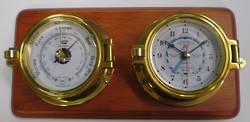 "Plastimo 3"" Tidetimer Clock and Barometer -Brass- On Wood"