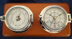 "Plastimo 3"" Tidetimer Clock and Barometer - Chrome On Wood"