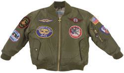 Flightline Kids MA1 Flight Jackets - Sage Green with Aviation Badges