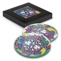 Venice Glass Coaster Set of 2 Round - Full Colour
