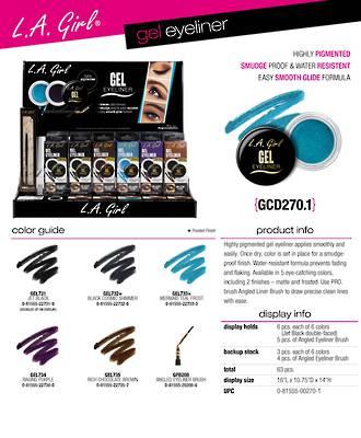 LA Girl Gel Eyeliner Display - 63pcs