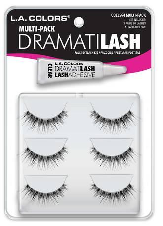 LA Colors Dramatilash- Multi-Pack (3 Pairs with Glue)