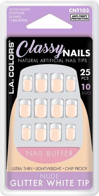 LA Colors 25pc Artificial Nails - Nude Glitter