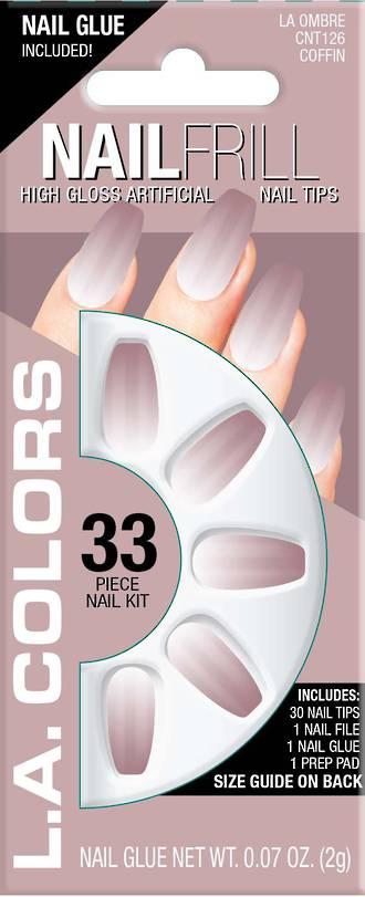 LA Colors 33pc High Gloss Coffin Nail Tip Kit - Ombre
