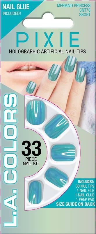 LA Colors 33pc Pixie Holographic Short Nail Tip Kit - Mermaid Princess