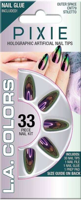 LA Colors 33pc Pixie Holographic Stiletto Nail Tip Kit - Outer Space