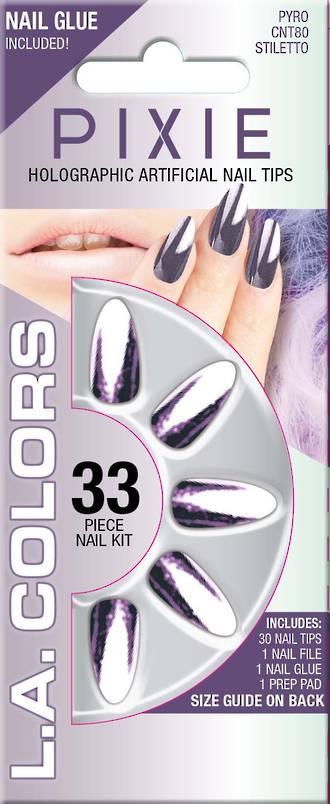 LA Colors 33pc Pixie Holographic Stiletto Nail Tip Kit - Pyro
