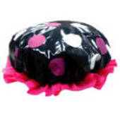 Black/Pink & White Polka Dot Shower Cap