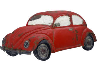 VW Beetle Wall Decal Small - Red