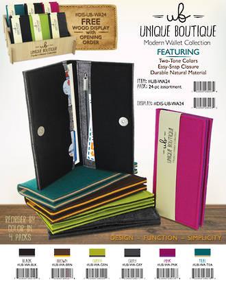 Uniq Boutique Felt Wallet Display - 24pcs