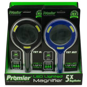 COB LED Lighted Magnifying Glass 5X Mag Display - 12pcs