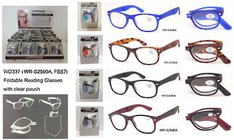 Folding Reading Glasses In Case Display - 24pcs