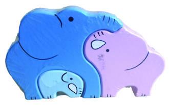 Wooden Puzzle - Elephants