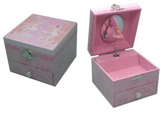 Sweet Square Musical Jewellery Box - Ballerina