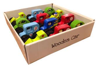 Small Wooden Cars Display - 12pcs