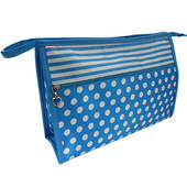 Cosmetic Bag Stripe/Spots - Blue