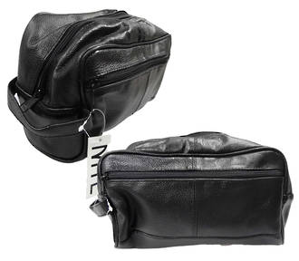 Men's Toilet Bag- Black PU Leather