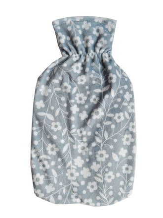 Microfiber Hot Water Bottle Cover - Blue Floral