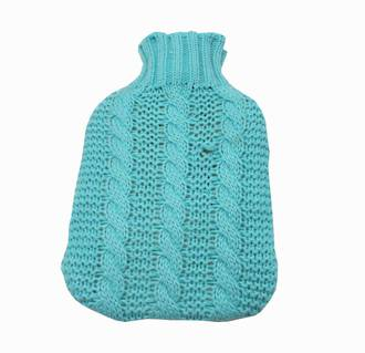 Cable Knit Hot Water Bottle Cover - Teal
