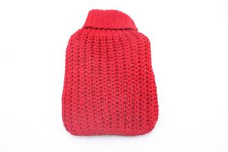 Chunky Knit Hot Water Bottle Cover - Red
