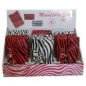 Zebra Red/White Manicure Set