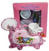 Childrens 5 Piece Melamine Feeding Set Pink