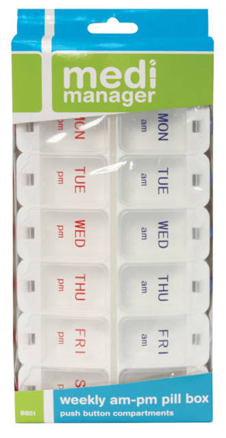 Medi Manager Weekly Pill Box Push Button