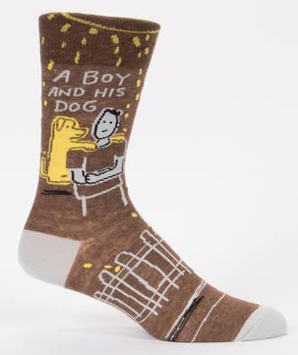 Blue Q Men's Socks - A Boy And His Dog