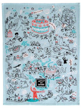 Blue Q Dish Towels - Artist At Work