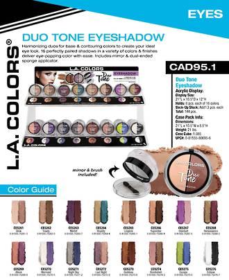 LA Colors - Duo Tone Eyeshadow Display - 144pcs