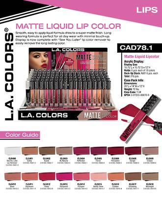 LA Colors - Matte Liquid Lip Color Display - 216pcs