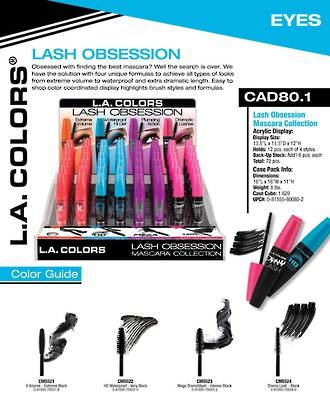 LA Colors - Lash Obsesion Mascara Display - 72pcs