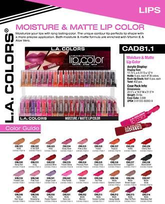 LA Colors - Moisture/Matt Lipstick Display - 432pcs