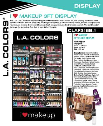 LA Colors I Heart Makeup 3ft Floor Display