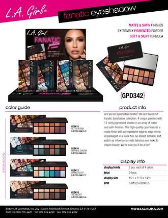 LA Girl Fanatic Eyeshadow Palettes Display - 24pcs