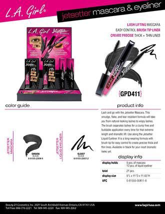 LA Girl Jetsetter Mascara & Eyeliner Display - 21pcs
