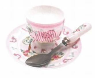 Pink Elephant Egg Cup, Spoon, Saucer Set