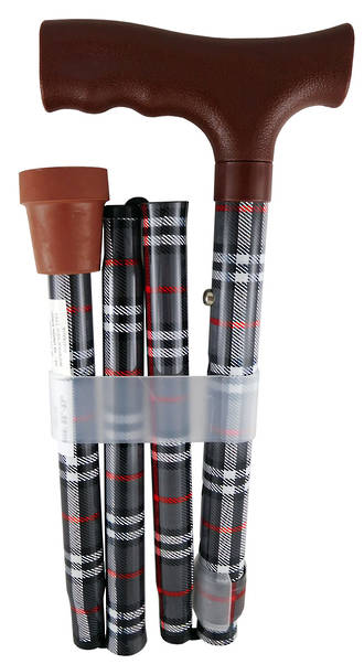 Foldable Walking Stick - Plaid