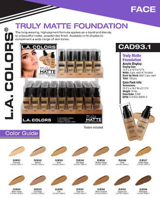 LA Colors - Truly Matte Foundation Display - 126pcs